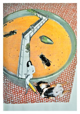 Collage by Belrost with woman, soup bowl and insects, H
