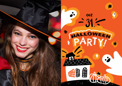 Orange card with ghosts. Halloween party!