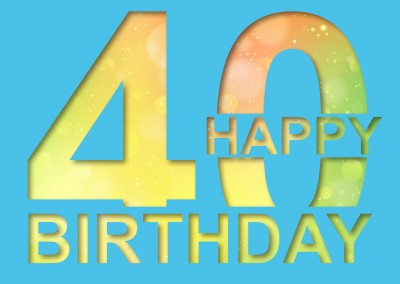 40 years happy birthday greeting card postcard template