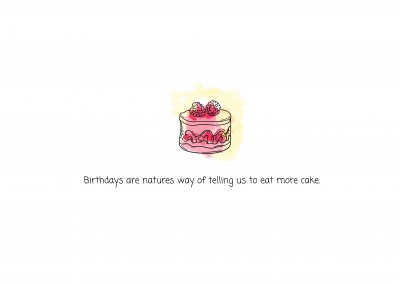 pink card with cake