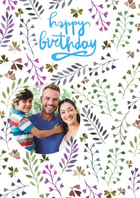 handwritten happy birthday on flower template photo card