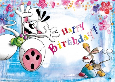 happy birthday diddl mouse postcard