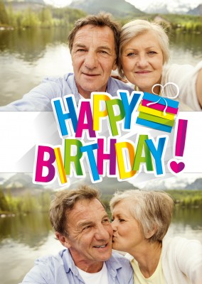 Happy Birthday with many colours and exclamation mark with heart card