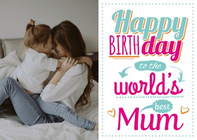 white postcard happy birthday to the world best mum