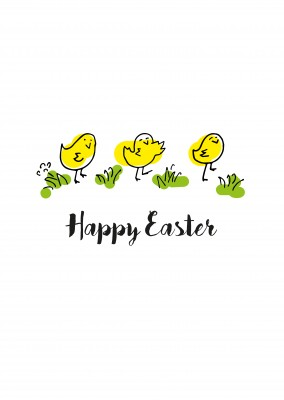 happy doodled easter chicks dancing on lawn