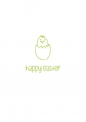 doodled Easter chicken wishing happy easter