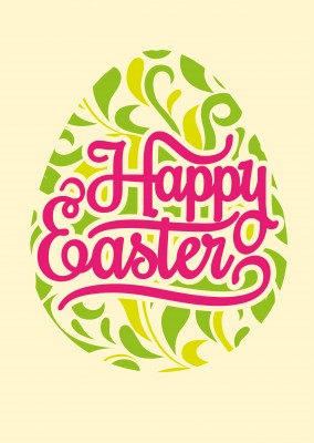 happy easter on Easteregg with yellow background