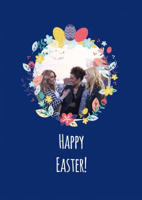 Happy Easter card with flower picture frame and blue background