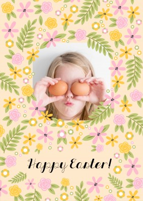 happy easter with pastel flower pattern and yellow background