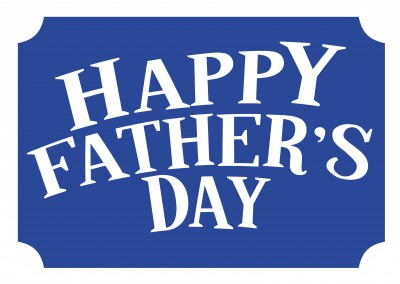 happy father's day in weiss auf blau
