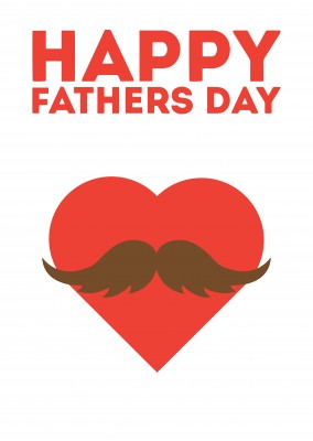 Happy Fathers Day Heart Moustache