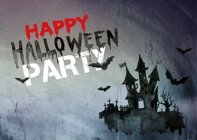 Happy Halloween Party invitation with spooky house