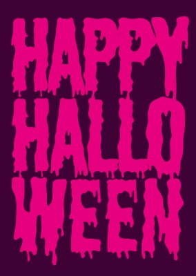 Pink Happy Halloween on purple background