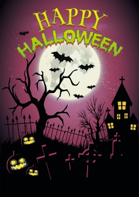 Happy Halloween: Spooky House, pumpkins and bats