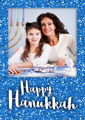 Happy Hanukka with a blue glitter frame