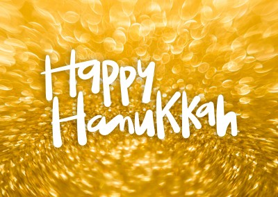 Happy hanukkah, golden background