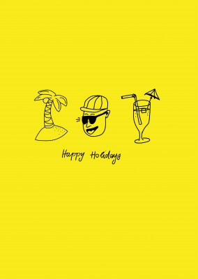 happy holidays, gult kort