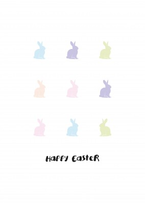 minimal colorful easter-bunnies