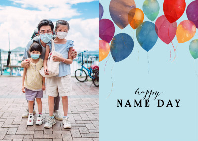 blue card with balloons and typography