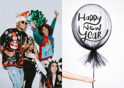 Happy New Year with balloon