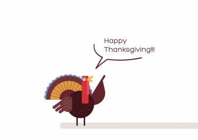 Le dindon en disant Happy Thanksgiving!