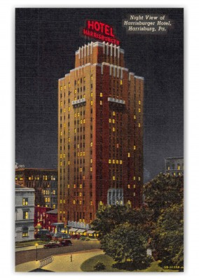 Harrisburg Pennsylvania Harrisburger Hotel Night View