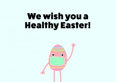 We wish you a happy easter! Egg wearing a surgical mask