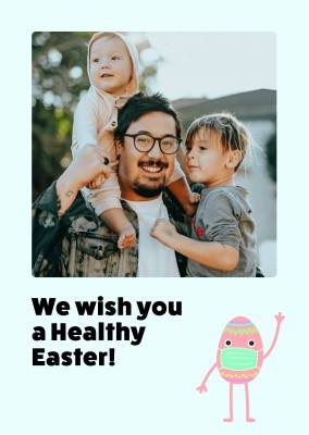 We wish you a happy easter! Ei mit einer OP-Maske