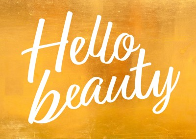 hello beauty gold postcard design mypostcard