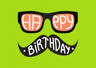 hipster birthday wishes with nerd glasses and moustache (lime green)