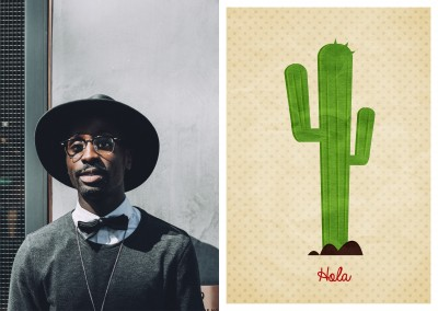 Hola card with a cactus