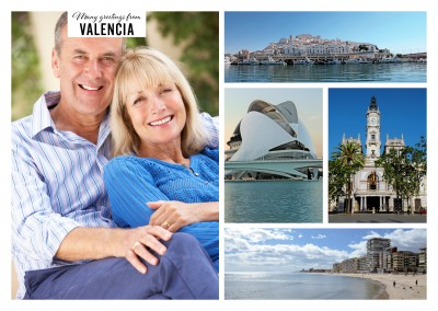 Four photos of Valencia: intraurban architecture with skyline, coast landscape