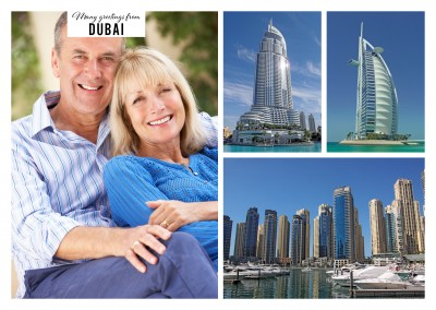 Dubai Marina - quarter with pompous architecture in three photos