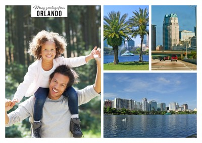 Orlando Downtown nearby the Eola Lake in three photos