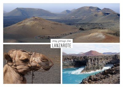 Three photos of the island lanzarote
