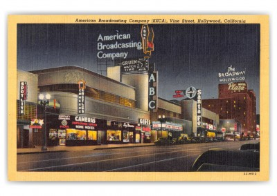 Hollywood, California, American Broadcasting Company at night, Vine Street