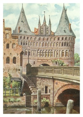 Illustration vintage Grußkarte Holstentor, Lübeck