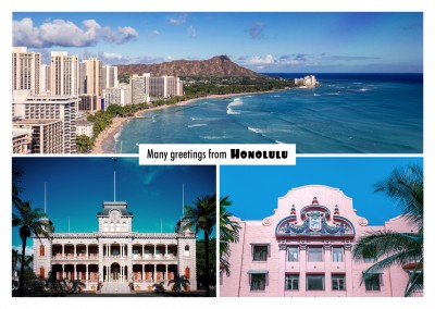 photocollage honolulu beach and old town buildings