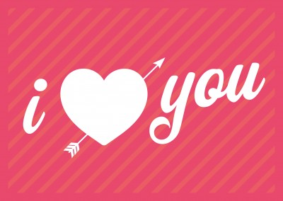 retro i love you postkarten motiv design