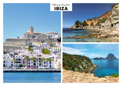 ibiza photo collage postcard