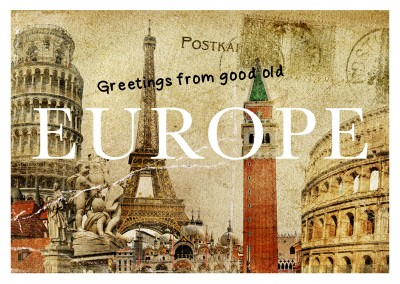 illustration collage europa postkarte