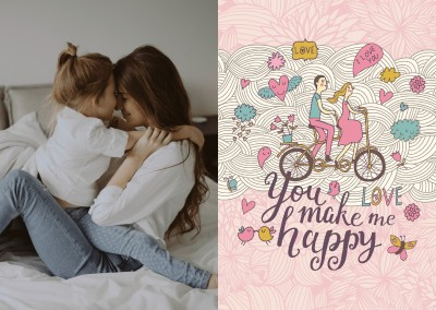 illustration vintage you make me happy postkarte