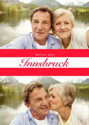 Innsbruck hello in Austrian language red white