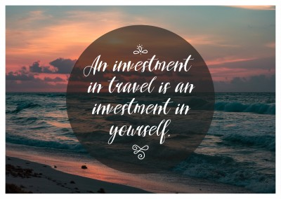 Postkarte Spruch An investment in travel is an investment in yourself