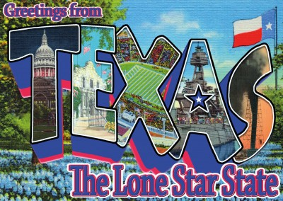Texas design vintage greeting card