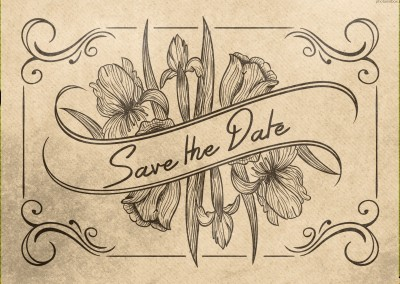 Vintage Retro invitation calligraphy classic event