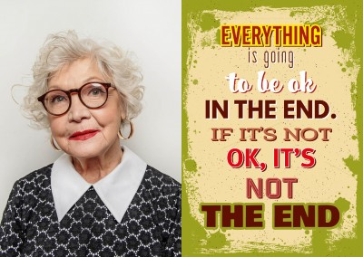 Vintage Spruch Postkarte: Everything is going to be ok inthe end.If it`s notok, it`s not the end