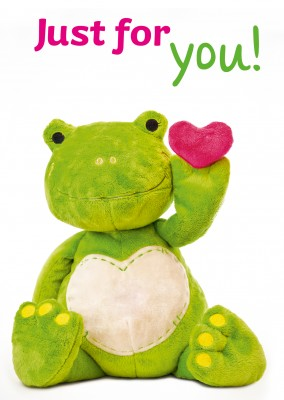plush frog holding a heart in his left hand – just for you