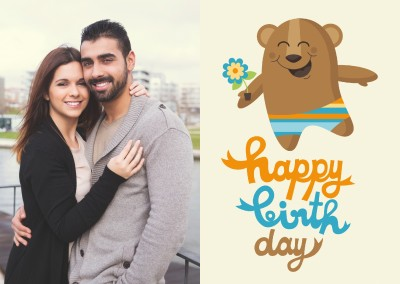Cute little bear illustration with swimming pants, flower and blue n orange lettering saying happy birthday