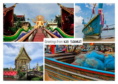 photocollage Jo Samui buddhistiska tempel